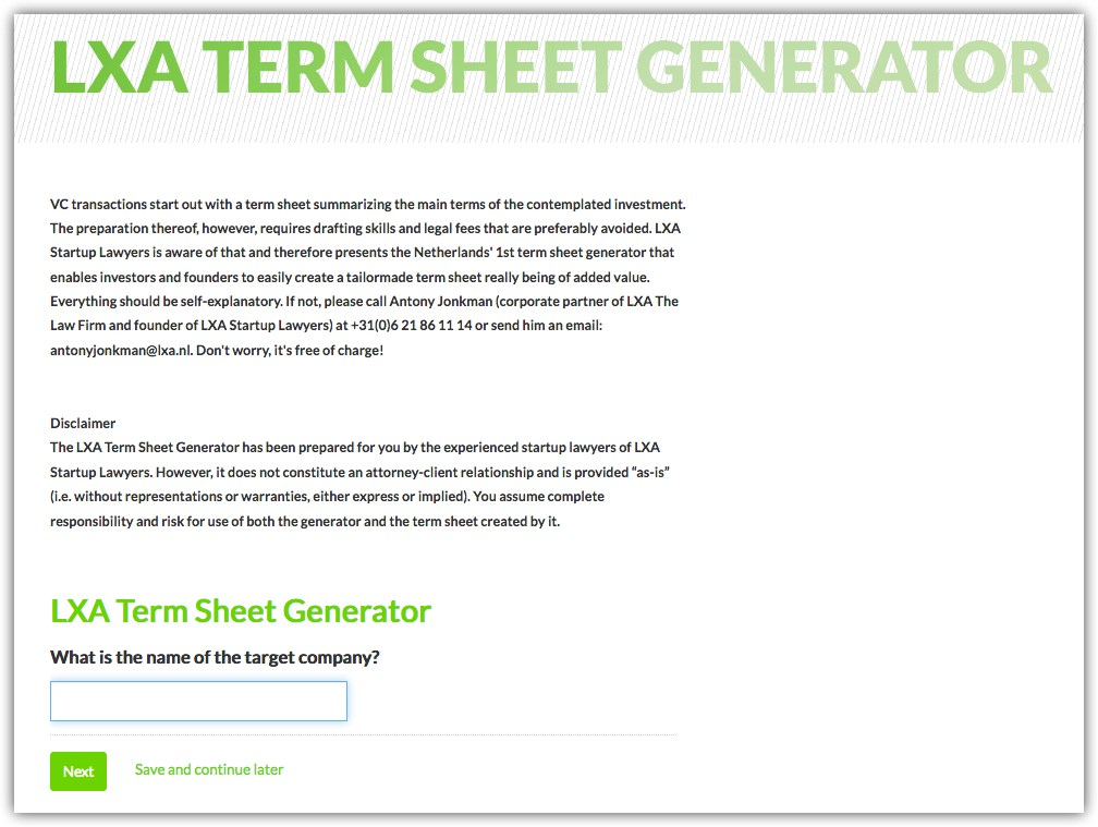 term sheet generator